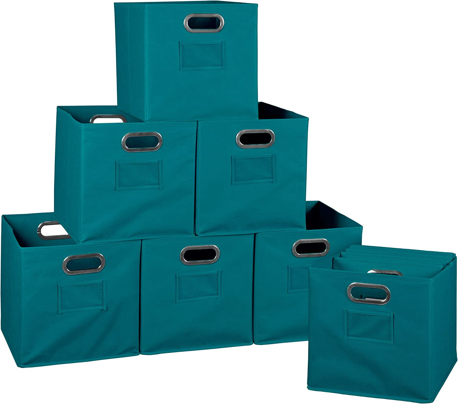 Niche Set of 12 Cubo Foldable Fabric Bins- Teal