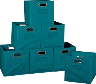 Set of 12 Cubo Foldable Fabric Bins- Teal