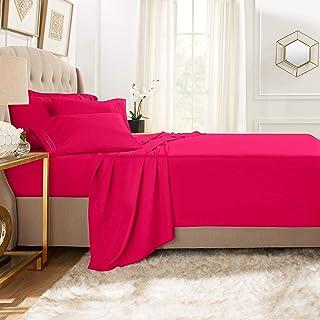 مجموعة كلارا كلارك بريميوم 1800 من 5 قطع، ملاءة سرير مع أغطية وسائد إضافية California King CC-6pc-Sheets-CK-hot-pink