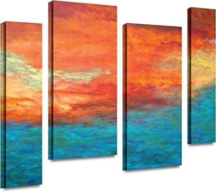ArtWall Herb Dickinson 'Lake Reflections II' 4-Piece Staggered Gallery Wrapped Canvas Artwork, 24 by 36-Inch