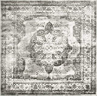 Unique Loom Sofia Collection Traditional Vintage Gray Square Rug (6' x 6')