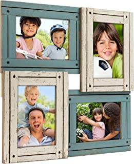 Collage Picture Frames from Rustic Distressed Wood: Holds Four 4x6 Photos: Ready to Hang. Shabby Chic, Driftwood, Barnwood, Farmhouse, Reclaimed Wood Picture Frame Collage (White & Turquoise)