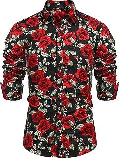 Men's Rose Floral Print Casual Cotton Button Down Dress Shirt