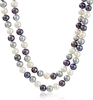 """Sterling Silver Two-Rows High Luster Genuine Cultured Freshwater Pearl Strand (8-9mm), 18"""""""