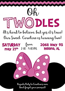 Minnie Oh Toodles Custom Invites Solid or Glitter - Any Age