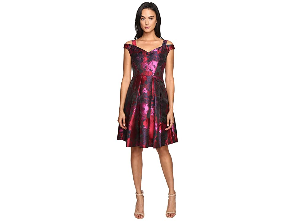 Maggy London Floral Brocade Fit and Flare Dress (Red/Black) Women
