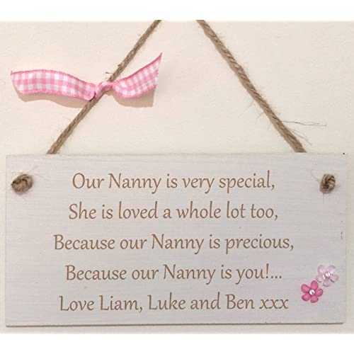 Special NANNY Personalised PLEASE EMAIL NAMES Gift Shabby Chic Hand Finished Wooden Hanging Plaque Mothers Day