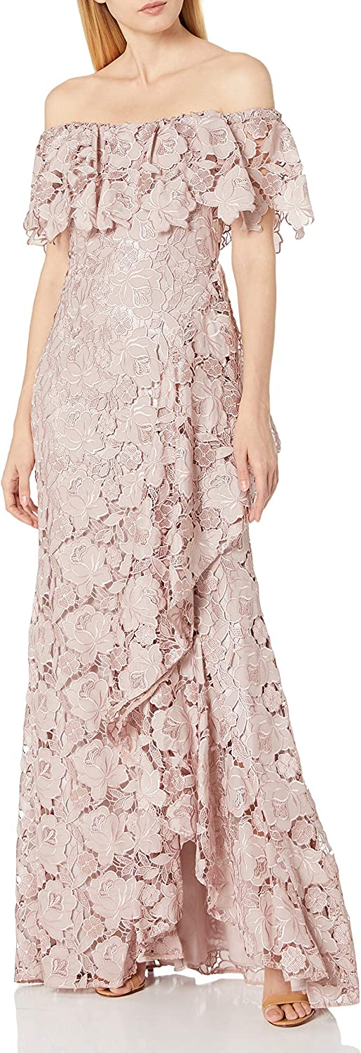 Badgley Mischka Women's Off The Shoulder Gown, Floral Lace Ruffle