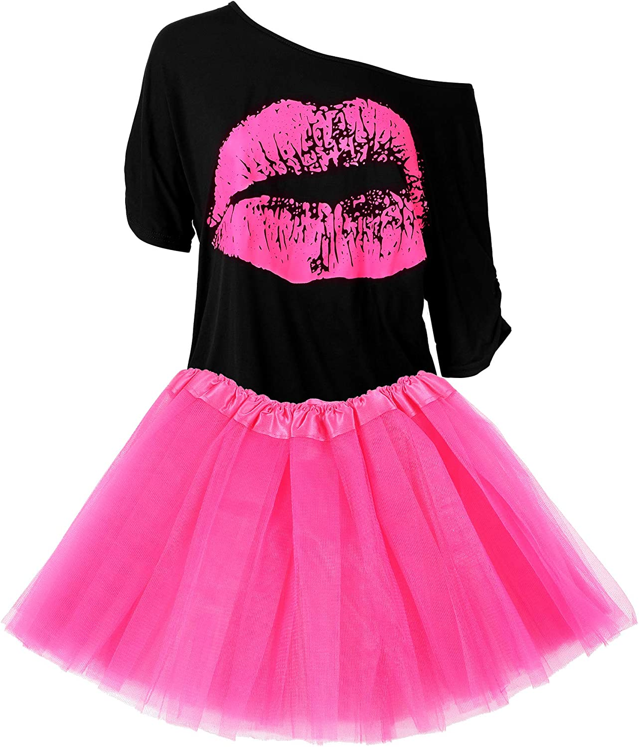 Women's 80s Costume Special price Accessories Set Print Lips Surprise price Fashion T-Shirt