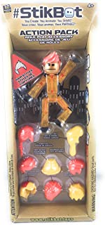 Stikbot, Hair Styles Action Pack Role Play Accessory Set (Gold Stikbot with Yellow and Orange Hair)