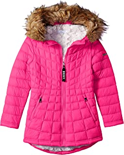 DKNY Girls' Faux Fur Lined Jacket with Glacier Shield