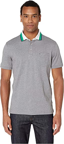 Short Sleeve Jacquard Polo with Chest Pocket