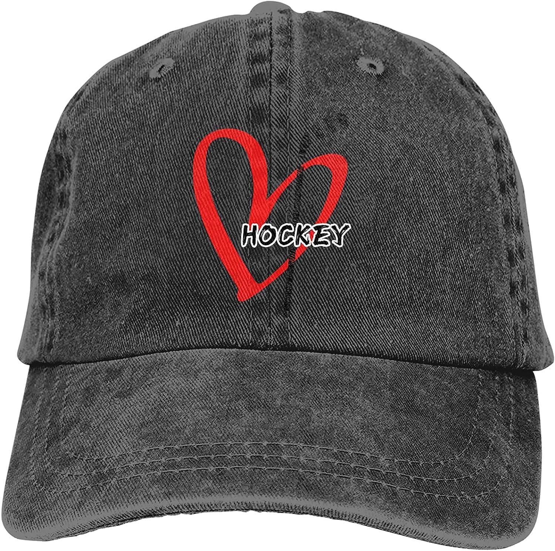 Hockey Heart Baseball Cap Trucker Hat Retro Cowboy Dad Hat Classic Adjustable Sports Cap for Men&Women Black