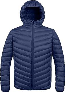 ZSHOW Men`s Packable Down Jacket Hooded Lightweight Winter Coat