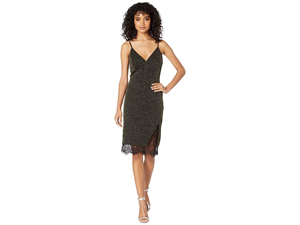 J.O.A. Lace Back Knit Dress (Black/Gold) Women