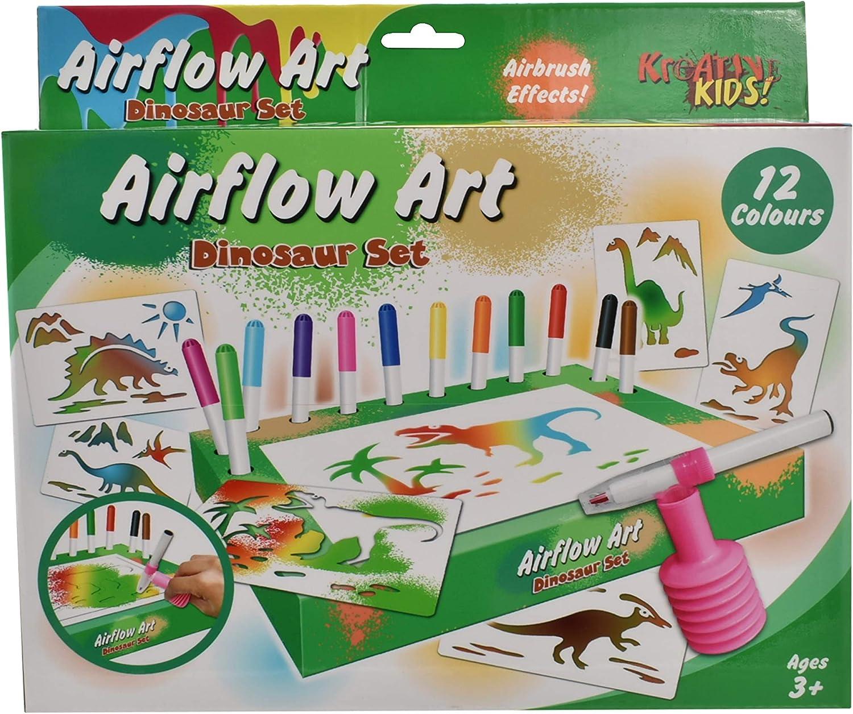 Kreative Kids New Free Shipping 12 Colour Airflow Airbrush Set Dinosaur Art ~ W Max 48% OFF