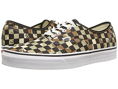 Vans Authentictm ((Checkerboard) Camo Desert/True White) Skate Shoes