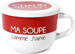 658f89b2dc Saveur et Degustation KA1407 MUG A Soupe en CERAMIQUE 625ML + Couvercle  Coloris ALEATOIRE, Taupe
