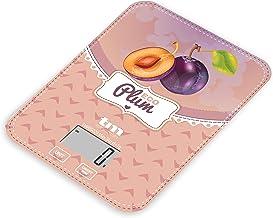 TM Electron TMPBS029 Balance de Cuisine avec Affichage numérique, Ultra Fine avec Motif Prunes, Vintage, 4 capteurs, Retou...