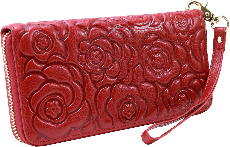 Heshe Women's Leather RFID Blocking Wallet Zipper Organizer Clutch Card Case Holder Money Clip Long Wallet