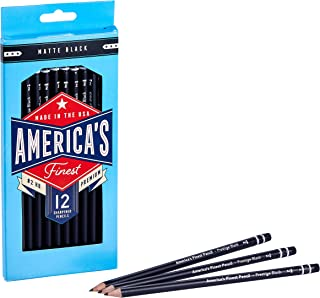 America's Finest Pre-Sharpened #2 Pencils, Made in USA, Responsibly Sourced Wood Cased, HB Graphite Core, Matte Black Coat...