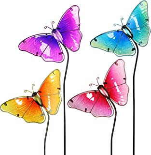 """Exhart Colorful Butterfly Decorations – Durable Glass """"Butterfly"""" Garden Stakes, Garden Stake Set: Red, Yellow, Turquoise, Purple – Decorative Butterflies for Garden/Yard (8.25"""