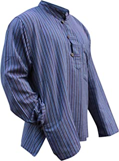 94dfb523ff Multi color mix dharke Stripes light weight comfy long sleeves traditional  Grandad Shirt,hippy boho