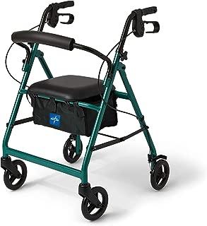Medline Aluminum Rollator Walker with Seat, Folding Mobility Rolling Walker has 6 inch Wheels, Green
