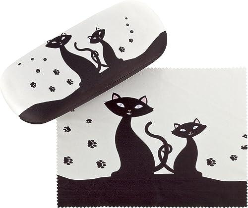 VON LILIENFELD Étui Lunettes Boîte Robuste Cadeau Étui Lunettes de Soleil Chiffon de Nettoyage Chat Noir