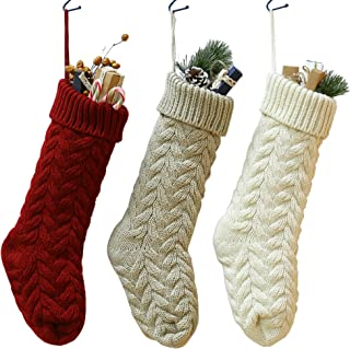 SherryDC Crochet Cable Knit Christmas Stockings 18