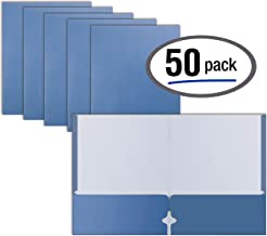 Two Pocket Portfolio Folders, 50-Pack, Light Blue, Letter Size Paper Folders, by Better Office Products, 50 Pieces, Lt. Blue