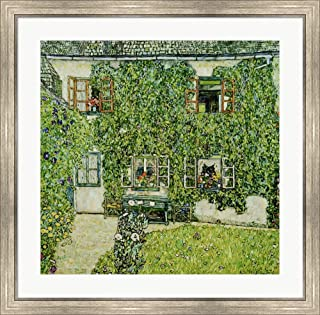 Forsthaus in Weissenbach Am Attersee - Forestry House in Weissenbach On Attersee-Lake, 1912 by Gustav Klimt Framed Art Print Wall Picture, Silver Scoop Frame, 32 x 32 inches