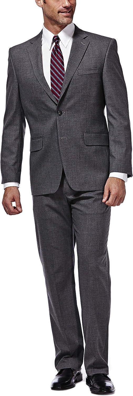 Haggar Men's J.m Premium Performance Stretch Stria 2-Button Suit Separate Coat, Dark Heather Grey, 44R with Plain Front Suit Separate Pant, Dark Heather Grey, 40Wx32L