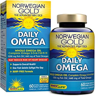 Renew Life Norwegian Gold Adult Fish Oil - Daily Omega, Fish Oil Whole Omega Supplement