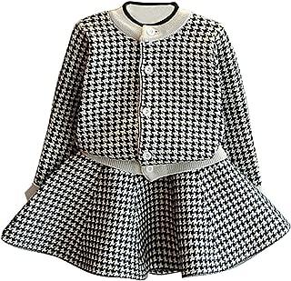 C&M Wodro Girls Dress, Autumn Winter Toddler Kids Plaid Knitted Sweater Dress Set Baby Girls Coat Tops+Skirt Set