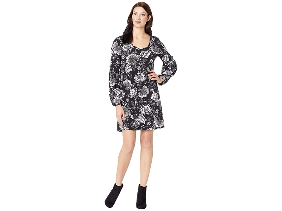 Karen Kane Smocked Sleeve Dress (Black/White) Women