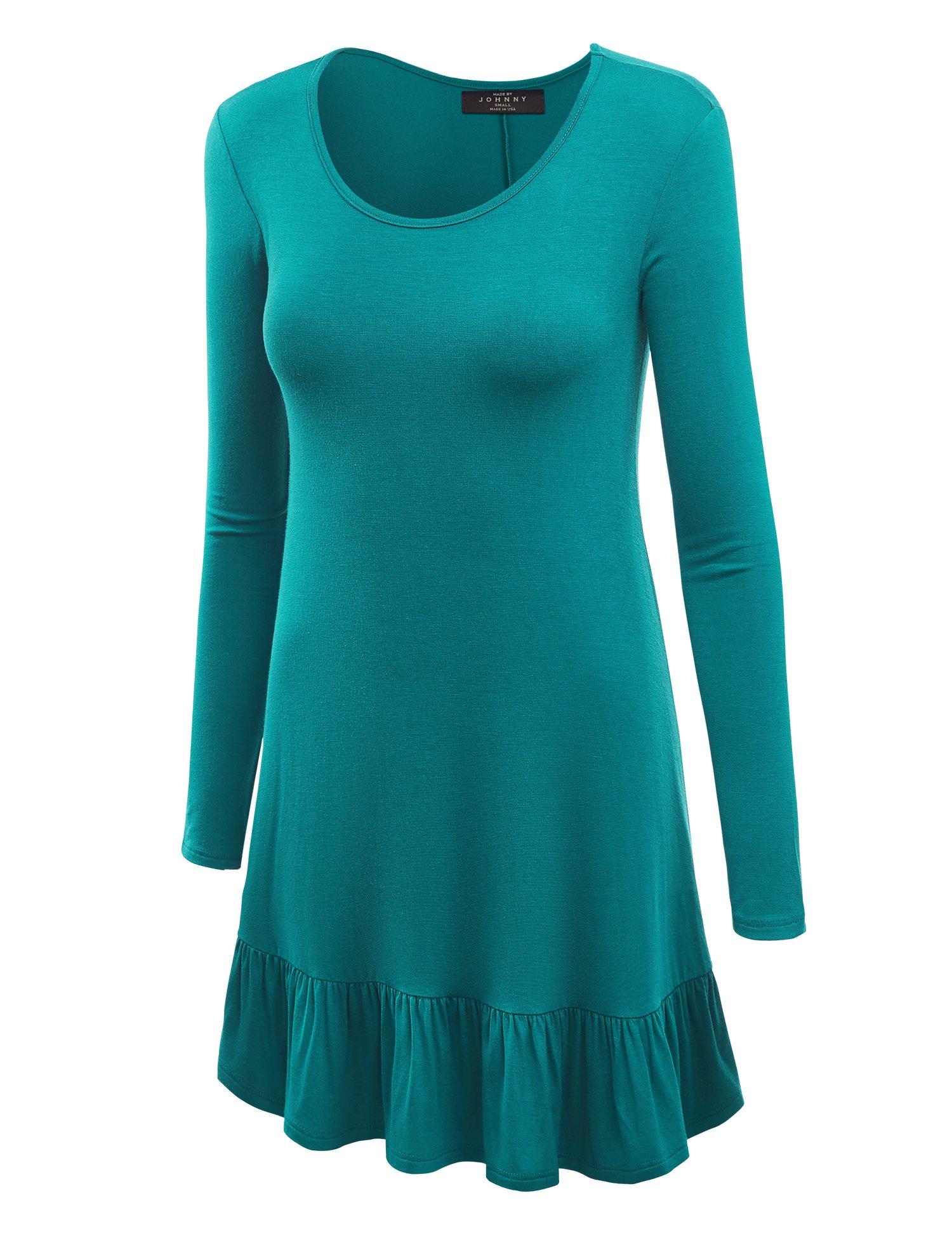 Available at Amazon: MBJ Women's Long Sleeve Bottom Ruffled Tunic Short Dress - Made in USA