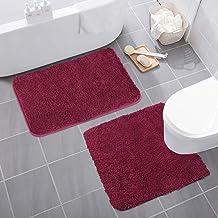 Set of Two Bath Mat COSY HOMEER Soft Plush Anti-Slip Bath Rug Toilet Mat one Inch Microfiber Shaggy Carpet Super Absorbent...