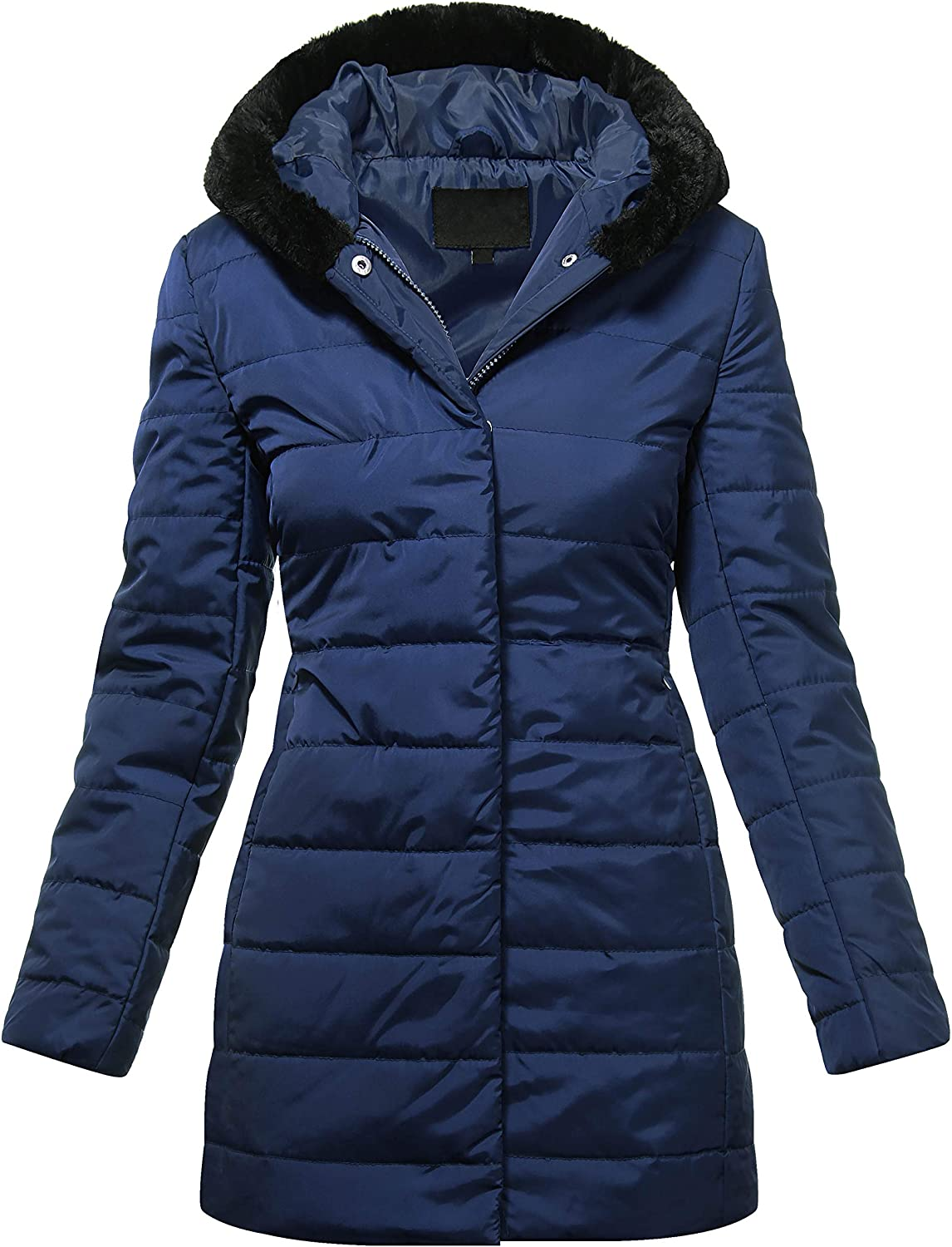 Ma Croix Womens Premium Quilted Winter Parka Coat Trim Fur Lined Hood Puffer Jacket