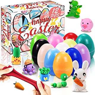 Devis 12 Pcs Prefilled Easter Eggs with Air Dry Clay, Soft Stretchy Air Dry DIY Clay Set, Air Dry Clay Easter Egg for Basket Stuffers, Spring Gift Set Bundle, Easter Hunt Fillers, Party Favors, Classroom Prize Supplies