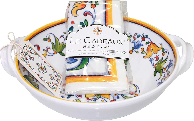 Le Cadeaux Capri Melamine 9.25  Salad Bowl with Handles and Tea Towel Set