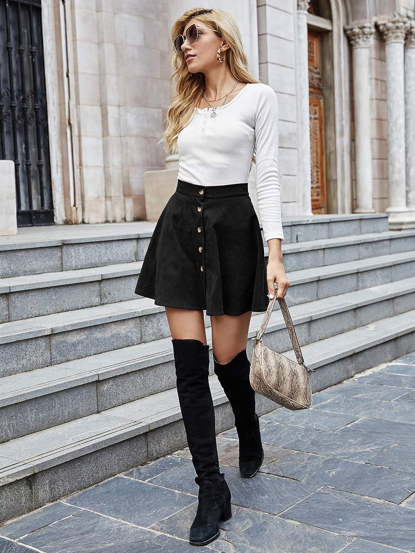 WangsCanis Falda de mujer de cintura alta l/ínea de A con falda de plaid con cremallera casual chic vintage