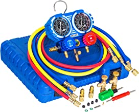 Manifold Gauge Set, Diagnostic A/C Tool Kit for R410A, Brass HVAC Service Set with 5 ft Hoses, Adjustable Joint ( from 1/2