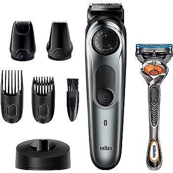 Braun Beard Trimmer BT7240, Hair Clippers for Men, Cordless & Rechargeable, Detail Trimmer, Mini Foil Shaver with Gillette ProGlide Razor, Black/Silver Metal
