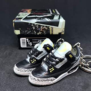 Pair Air jordan III 3 Retro Oregon Duck Pit Crews PE Cement Sneakers Shoes 3D Keychain 1:6 Figure + Shoe Box