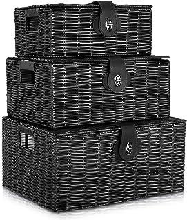 Homepeaz Set of 3 Woven Storage Basket Box Wicker Hamper Stackable Bin with Lid & Lock, Built-in Carry Handles, Organizer ...