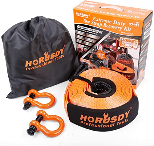 """lowest HORUSDY Nylon Heavy Duty Tow Strap Recovery Strap with online sale Hooks 3"""" x new arrival 30Ft - 32,000 LBS Break Strength, 3/4 D Ring Shackles (2pcs), Recover Your Vehicle Stuck in Mud/Snow. online sale"""