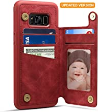 Spaysi Samsung Galaxy S8 Plus Card Holder Case, Galaxy S8 Plus Wallet Case (TM) Slim, Galaxy S8 Plus Folio Leather case 2017, Gift Box, for Galaxy 8 Plus (Red)