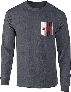 Delta Kappa Epsilon Americana Pocket Long Sleeve T Shirt with Twill Letters