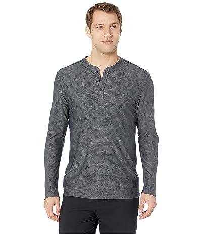 adidas Golf Adicross Mesh Stripe Long Sleeve Henley (Carbon Heather) Men